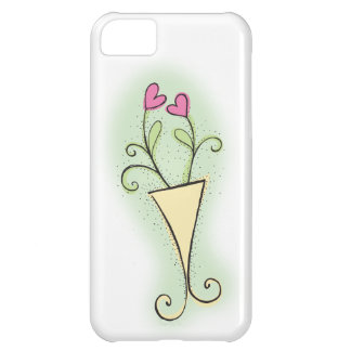 Flower pot pretty with love hearts cover for iPhone 5C