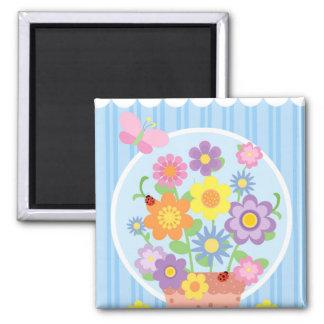 Flower Pot Square Magnet
