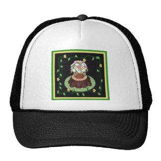 Flower Pot Trunk Cake Cap Trucker Hat