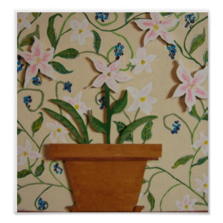 flower pot  wood painting posters