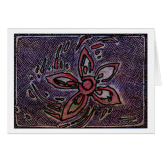 Flower Potato Carving with Cross Hatching Purple Card