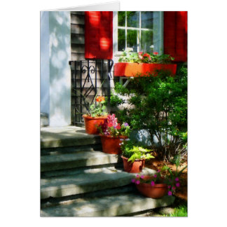 Flower Pots and Red Shutters Card