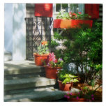 Flower Pots and Red Shutters Ceramic Tiles
