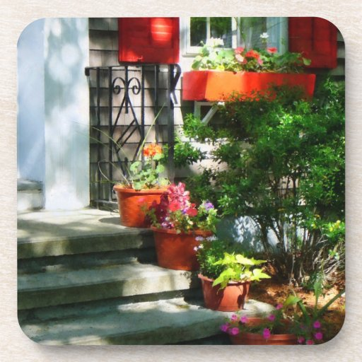 Flower Pots and Red Shutters Coasters