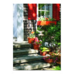 Flower Pots and Red Shutters Custom Invitations