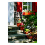 Flower Pots and Red Shutters Greeting Card