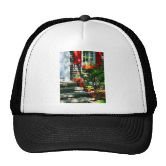 Flower Pots and Red Shutters Trucker Hats