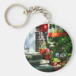 Flower Pots and Red Shutters Key Chains