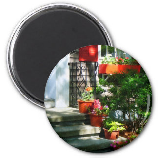 Flower Pots and Red Shutters Fridge Magnets