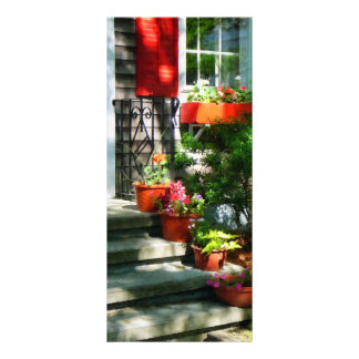 Flower Pots and Red Shutters Personalized Rack Card