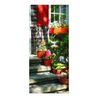 Flower Pots and Red Shutters Full Color Rack Card