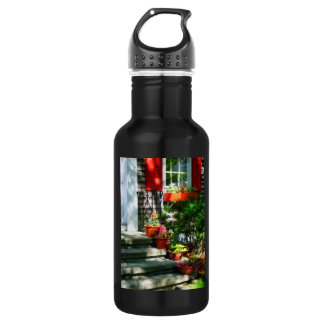Flower Pots and Red Shutters Stainless Steel Water Bottle