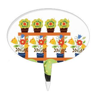 Flower Pots Cake Topper