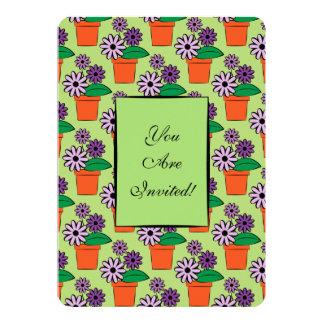 Flower Pots Purple Daisies Card