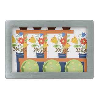 Flower Pots Rectangular Belt Buckle