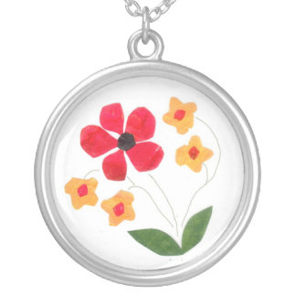 Flower Pots Silver-plate Necklace