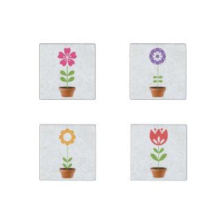 Flower Pots Stone Magnet
