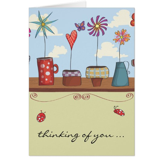 Flower Pots Thinking of You Notecard