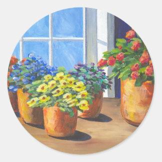 Flower Pots Window Classic Round Sticker