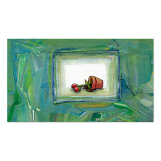 Flower potted plant gardening painting art fallen Double-Sided standard business cards (Pack of 100)