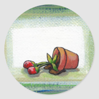 Flower potted plant gardening painting art fallen classic round sticker