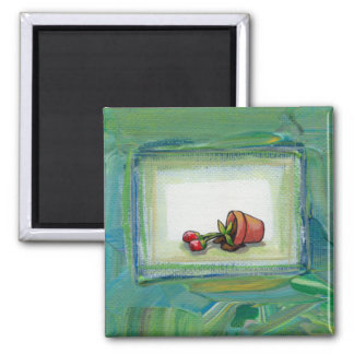 Flower potted plant gardening painting art fallen magnet