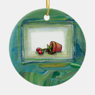 Flower potted plant gardening painting art fallen christmas tree ornament