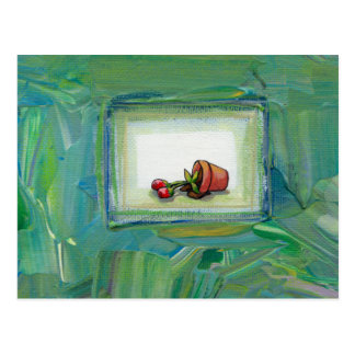 Flower potted plant gardening painting art fallen postcard