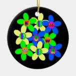 Flower power 60s-70s adorno navideño redondo de cerámica