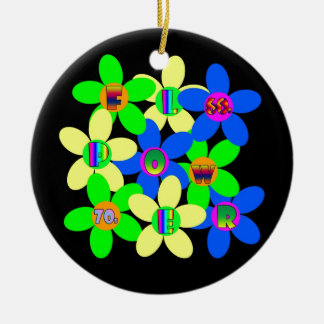 Flower Power 60s-70s Double-Sided Ceramic Round Christmas Ornament