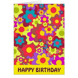 Flower Power 60s hippy birthday Card