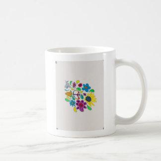flower power '60's peace symbols coffee mug