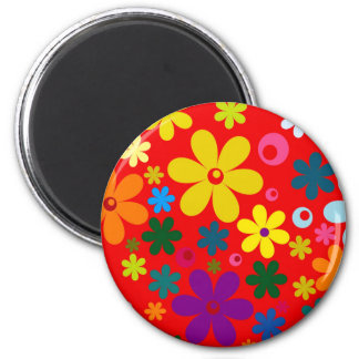 FLOWER POWER (a retro colorful floral design) ~~ 2 Inch Round Magnet