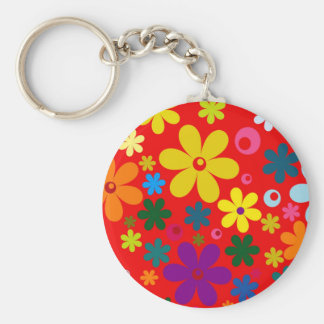FLOWER POWER (a retro colorful floral design) ~~ Basic Round Button Keychain