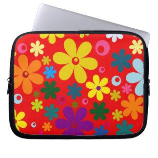 FLOWER POWER (a retro colorful floral design) ~~ Laptop Computer Sleeve