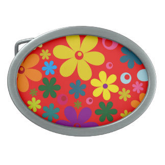FLOWER POWER (a retro colorful floral design) ~~ Oval Belt Buckle