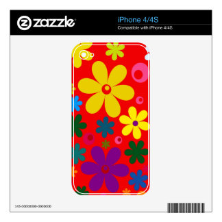 FLOWER POWER (a retro colorful floral design) ~~ Skin For The iPhone 4S