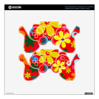 FLOWER POWER (a retro colorful floral design) ~~ Skins For PS3 Controllers