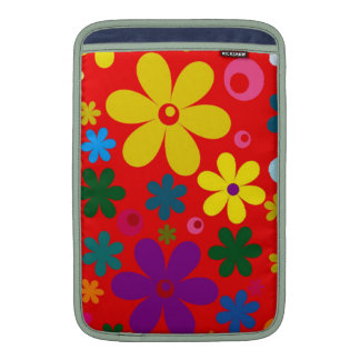 FLOWER POWER (a retro colorful floral design) ~~ Sleeves For MacBook Air