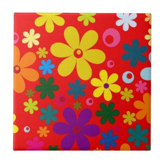 FLOWER POWER (a retro colorful floral design) ~~ Tile