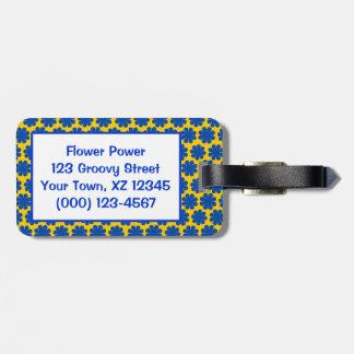 Flower power adaptable etiquetas para equipaje