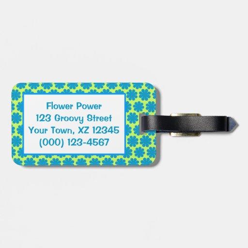 Flower power adaptable etiquetas para maletas