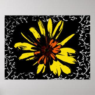 Flower power amarillo póster