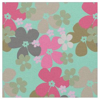 Flower Power Aqua Fabric