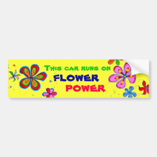 Flower Power Art, Colorful Bumper Sticker