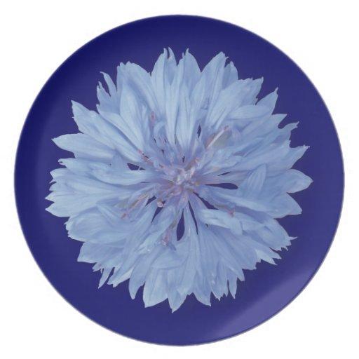 Flower power azul platos de comidas