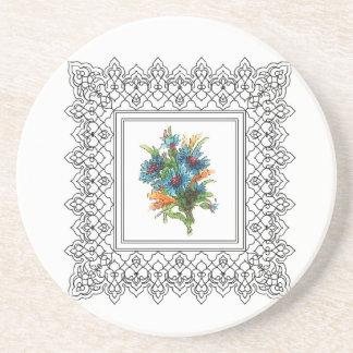 flower power azul posavasos diseño