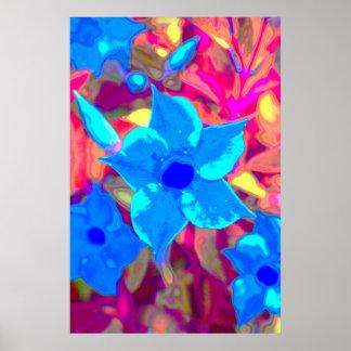 Flower power azul póster