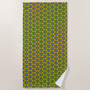 Beach Themed Flower Power Beach Towel
