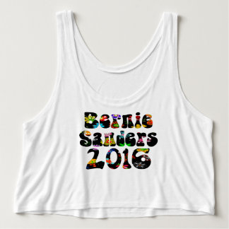 Flower Power Bernie Sanders 2016 Flowy Crop Tank Top